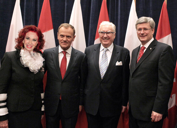 Dr. Richarda D. Russ and Mr. Bart Pasowski with Polish Prime Minister, Donald Tusk on Parliament Hill, with Prime Minister Stephen              Harper